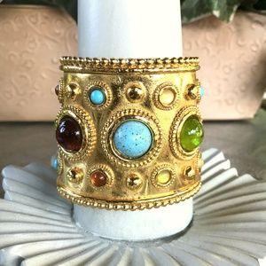 Rare Edouard Rambaud Gripoix Stone Cuff Bracelet